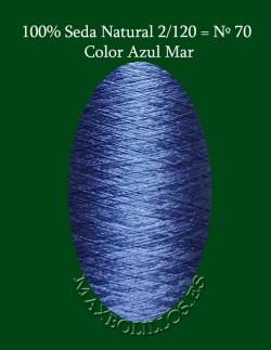 100% Seda Azul Mar Nº 70
