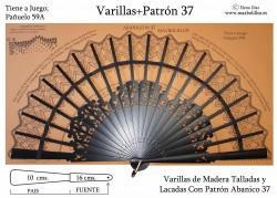 Varillas Madera Lacada+Patrón 37 Negras